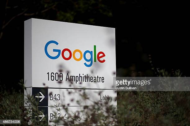 The new Google logo is displayed on a sign outside of the Google headquarters on September 2 2015 in Mountain View California Google has made the...