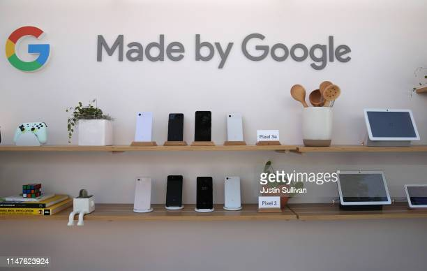 The new Google Pixel 3a is displayed during the 2019 Google I/O conference at Shoreline Amphitheatre on May 07 2019 in Mountain View California...