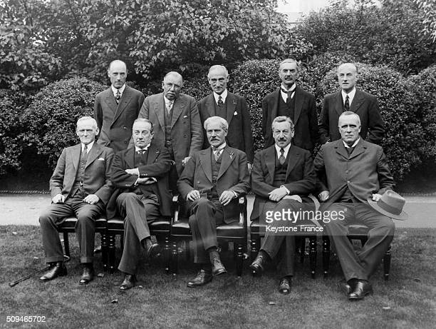 The New Government In The Garden Of The 10 Downing Street With from Left To Right Standing Sir Phillip Cumliffe Lister J H Thomas Lord Reading...