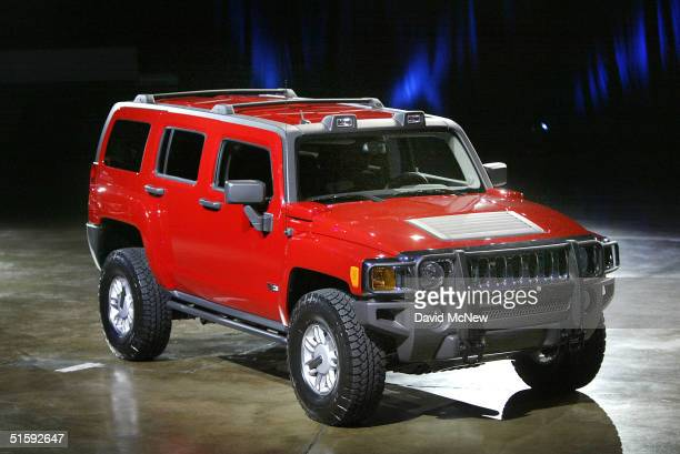 The new H3 Hummer is introduced at a press conference at the California International Auto Show during Media Day on October 27 2004 in Anaheim...