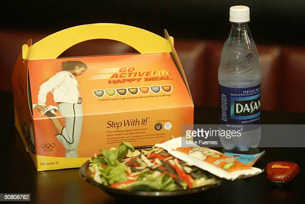 The new Happy Meal for adults is seen at a McDonald's restaurant May 6 2004 in Dallas Texas The meal which features a salad bottled water a...