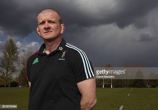 The New Harlequins Forwards coach Graham Rowntree poses for a portrait at Surrey Sports Park on April 27, 2016 in Guildford, England.