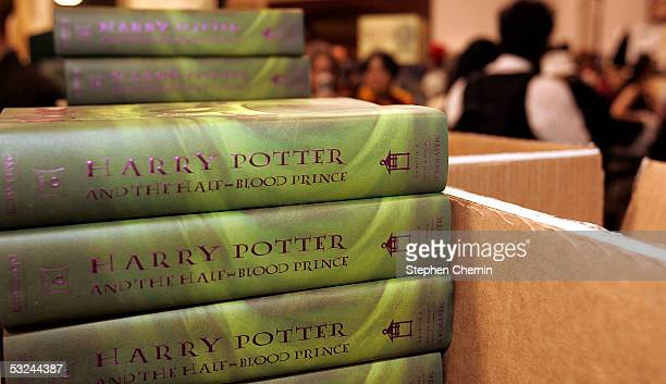 The new Harry Potter books are stacked and ready for sale at the Barnes and Noble in Union Square July 15 2005 in New York City JK Rowling's sixth...