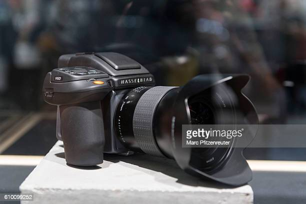 The new Hasselblad H6D camera is displayed at the 2016 Photokina trade fair on September 24 2016 in Cologne Germany Photokina is the world's largest...