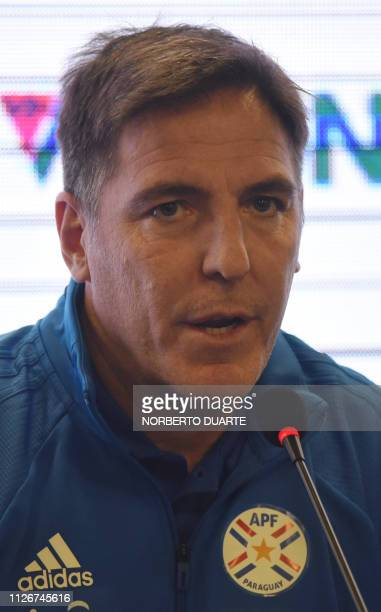 The new head coach of Paraguay's national football team Argentinian Eduardo Berizzo speaks during his presentation at Paraguay's Football Association...