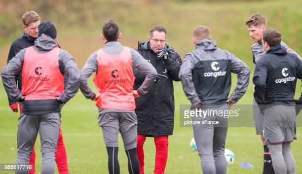 The new head coach of the German 2 Bundesliga team FC St Pauli Markus Kauczinski speaks during his first training session with the team in Hamburg...