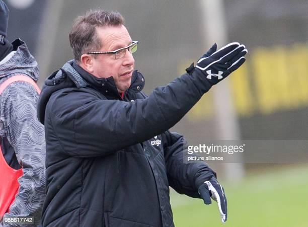 The new head coach of the German 2 Bundesliga team FC St Pauli Markus Kauczinski gestures his first training session with the team in Hamburg Germany...