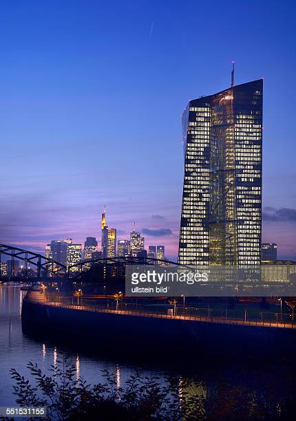 the new Headquarter of European Central Bank in Frankfurt under construction the financial district in the background