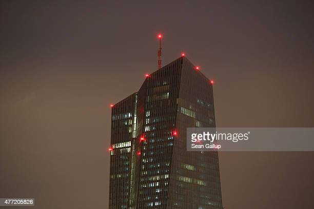 The new headquarters of the European Central Bank stands at night on June 12 2015 in Frankfurt Germany The ECB and other major global financial...