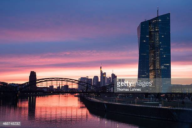 The new headquaters of the European Central Bank pictured on March 8 2015 in Frankfurt am Main Germany The formerly economically disadvantaged part...