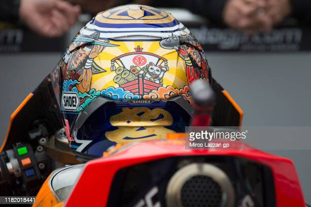 The new helmet of Marc Marquez of Spain and Repsol Honda Team for this race during the MotoGP of Japan - Qualifying at Twin Ring Motegi on October...