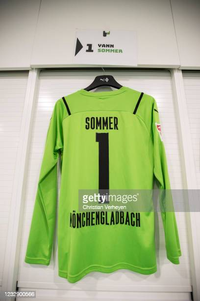 The new Home Kit of Yann Sommer of Borussia Moenchengladbach for the Season 2021/22 is seen in the changing room before the Bundesliga match between...