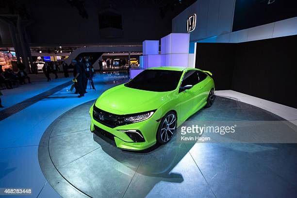 The new Honda Civic concept car is displayed at the New York International Auto Show at the Javits Center on April 1, 2015 in New York City. The auto...