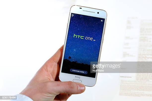 The new HTC One A9 exhibited during the 3rd day of Mobile World Congress in Barcelona 23rd of February 2016