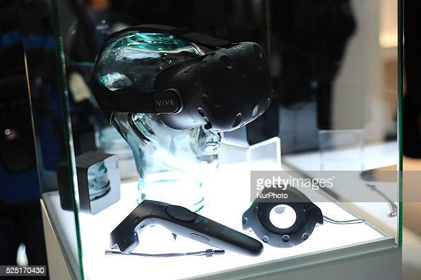 The new HTC Vive virtual 360 degree glasses exhibited during the second day of Mobile World Congress 2016 in Barcelona 23rd of February 2016