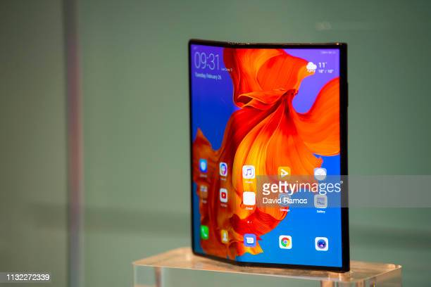 The new Huawei Mate X mobile phone is shown on display at the Huawei booth on day 2 of the GSMA Mobile World Congress 2019 on February 26 2019 in...