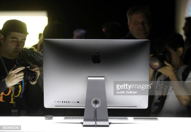 The new iMac Pro is displayed during the 2017 Apple Worldwide Developer Conference at the San Jose Convention Center on June 5 2017 in San Jose...
