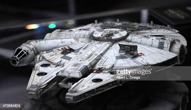 The new improved Millennium Falcon on display inside the 'Star Wars The Force Awakens' exhibit on Day One of Disney's 2015 Star Wars Celebration held...