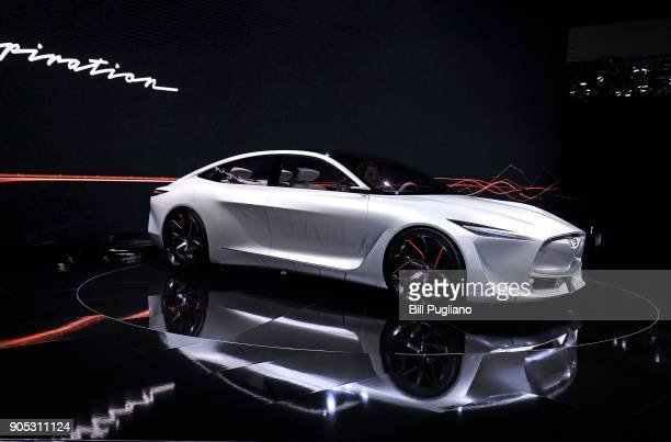 The new Infiniti Q Inspiration concept vehicle makes its debut at the 2018 North American International Auto Show January 15 2018 in Detroit Michigan...