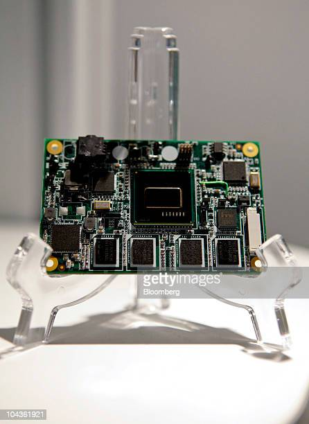 The new Intel Atom E600 series chip fitted to an Advantech Co Ltd processor board is displayed at the technology showcase during the Intel Developer...