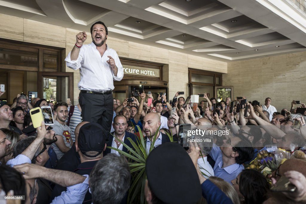 The new interior minister Matteo Salvini to Catania speaks to his supporters in Giovanni Verga square on June 03, 2018 in Catania, Italy. The new interior minister Matteo Salvini to Catania, his first official visit by Minister, to support the candidate Mayor of Catania Salvo Pogliese.