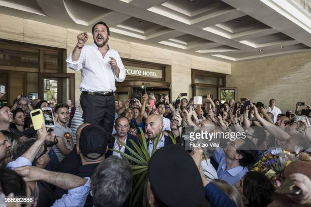 The new interior minister Matteo Salvini to Catania speaks to his supporters in Giovanni Verga square on June 03 2018 in Catania Italy The new...