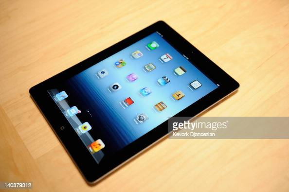 The new iPad is displayed during an Apple product launch ...