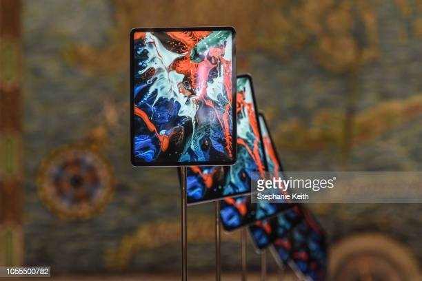 The new iPad Pro is put on display during an Apple launch event at One Hanson Place on October 30 2018 in the Brooklyn borough of New York City Apple...