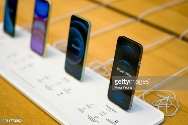 The new iPhone 12 and iPhone 12 Pro on display during launch day on October 23, 2020 in London, England. Apple's latest 5G smartphones go on sale in...