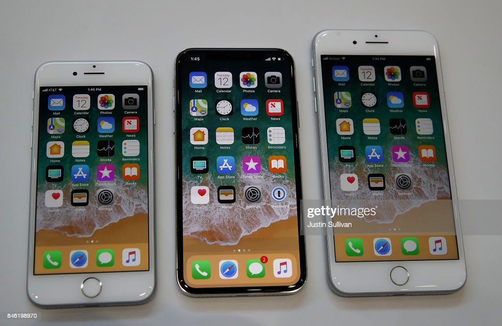 The new iPhone 8, iPhone X and iPhone 8S are displayed during an Apple special event at the Steve Jobs Theatre on the Apple Park campus on September 12, 2017 in Cupertino, California. Apple held their first special event at the new Apple Park campus where they announced the new iPhone 8, iPhone X and the Apple Watch Series 3.