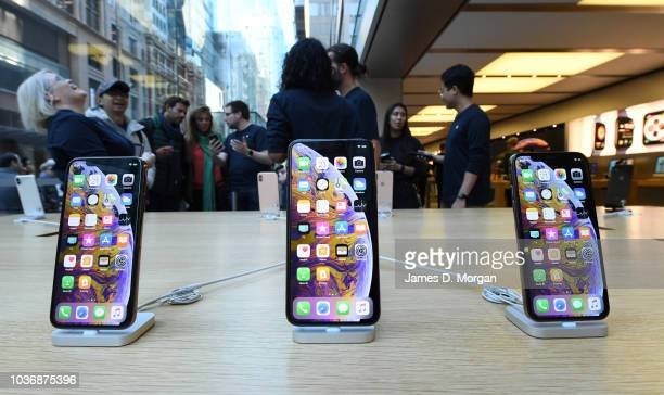 The new iPhone at the Australian release of the latest iPhone models at the Apple Store on September 21 2018 in Sydney Australia Apple's latest...