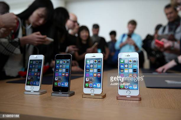 The new iPhone SE is displayed during an Apple special event at the Apple headquarters on March 21 2016 in Cupertino California Apple announced the...