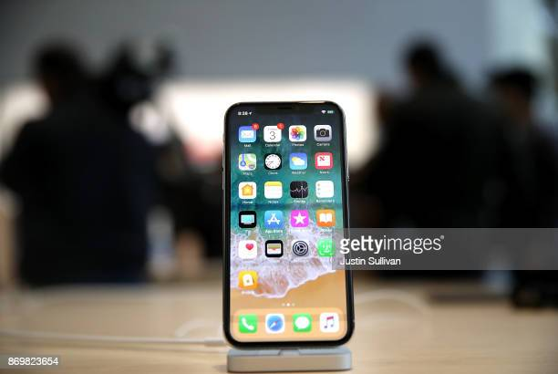 The new iPhone X is displayed at an Apple Store on November 3 2017 in Palo Alto California The highly anticipated iPhone X went on sale around the...