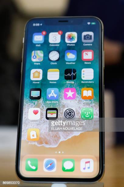 The new iPhone X is seen in the Apple Store Union Square prior to launch on November 3 in San Francisco California Apple's iPhone X hit stores around...