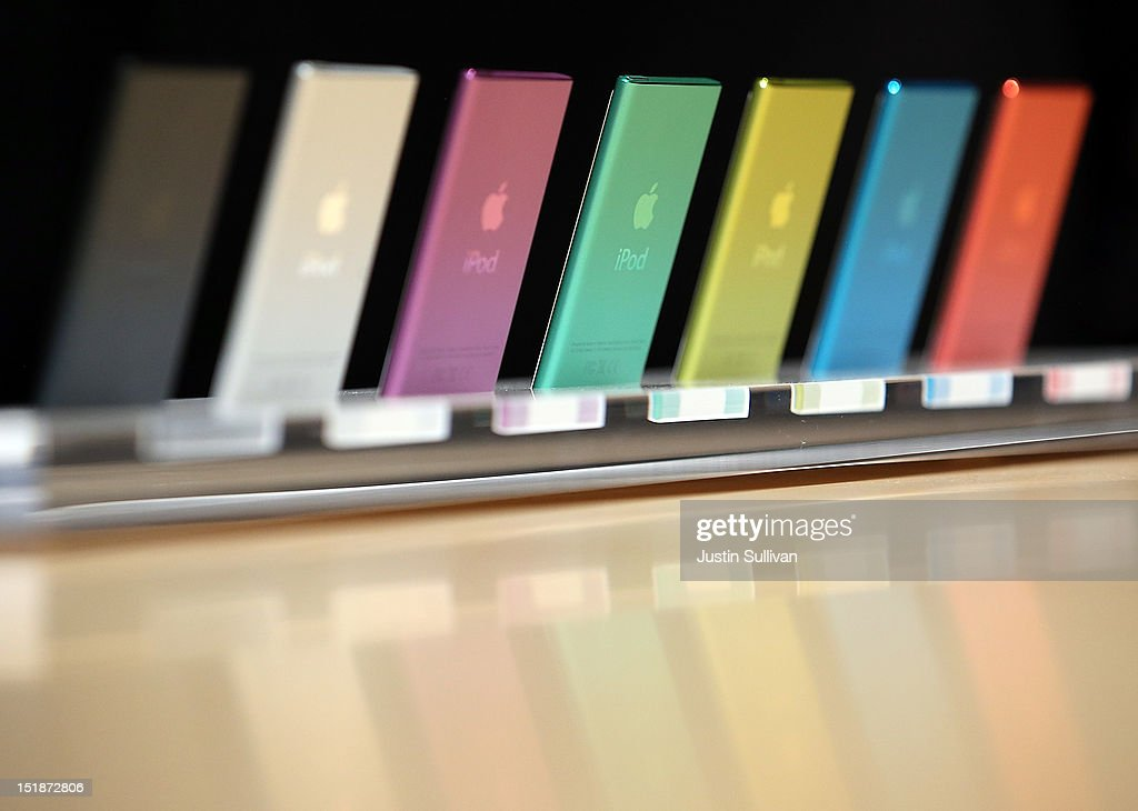 The new iPod Nano is displayed during an Apple special event at the Yerba Buena Center for the Arts on September 12, 2012 in San Francisco, California. Apple announced the iPhone 5, the latest version of the popular smart phone as well as new updated versions of the iPod Nano, Shuffle and Touch.