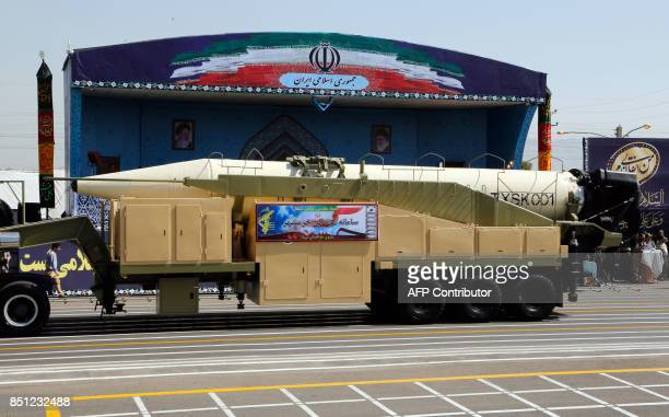 The new Iranian long range missile Khoramshahr is displayed during the annual military parade marking the anniversary of the outbreak of its...