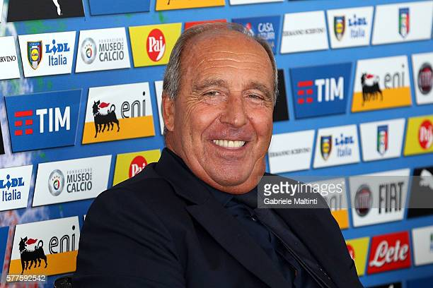 The new Italy head coach Giampiero Ventura attends the Italy National team sponsor meeting at Coverciano on July 19 2016 in Florence Italy