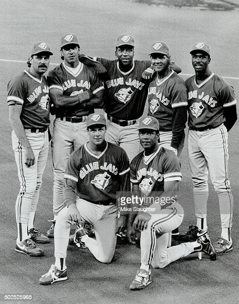 The new Jays From left standing the new faces belong to righthanded pitcher WIllie Fraser utility infleider Rene Gonzalez outfielder Joe Carter...