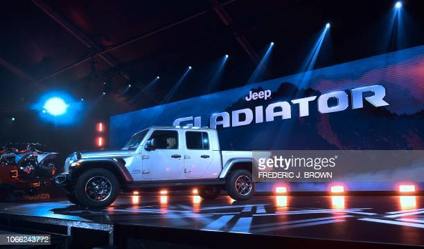 The new Jeep Gladiator displayed on stage in Los Angeles California on November 28 2018 at Automobility LA The LA Auto Show opens to the public on...
