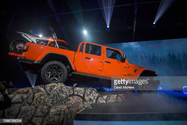 The new Jeep Gladiator truck is shown during the auto trade show AutoMobility LA at the Los Angeles Convention Center on November 28 2018 in Los...