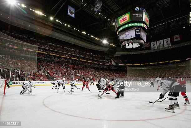 The New Jersey Devils and the Los Angeles Kings face off during the second period of Game Two of the 2012 Stanley Cup Final at the Prudential Center...