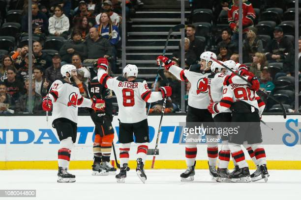 The New Jersey Devils celebrate a goal against the Anaheim Ducks at Honda Center on December 09 2018 in Anaheim California
