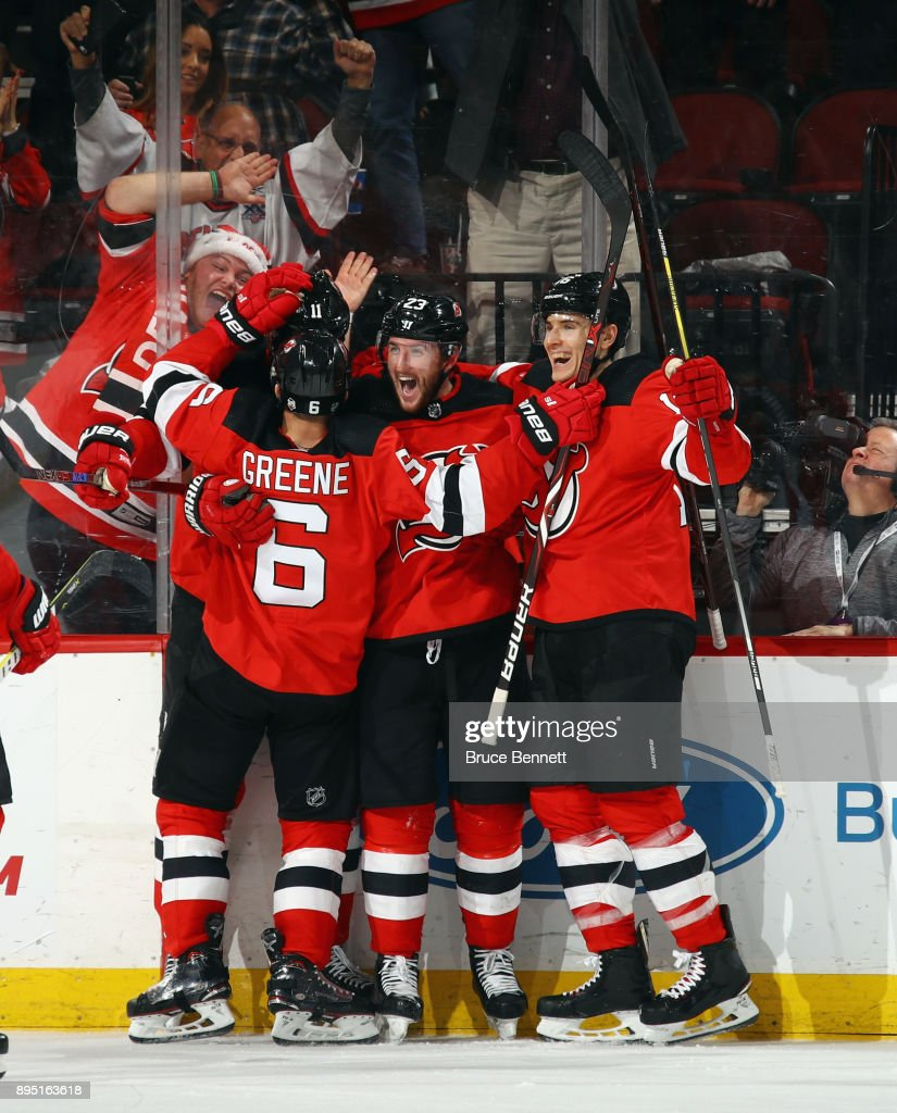 The New Jersey Devils celebrate a goal by Stefan Noesen #23 (c) at 15:53 of the third period against the Anaheim Ducks at the Prudential Center on December 18, 2017 in Newark, New Jersey.