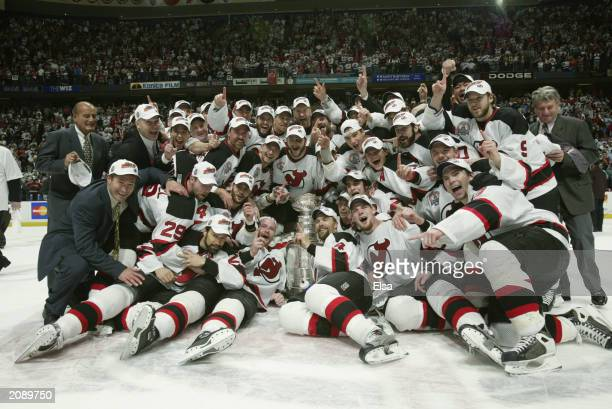 The New Jersey Devils celebrate winning the Stanley Cup after defeating the Mighty Ducks of Anaheim 30 in game seven of the 2003 Stanley Cup Finals...