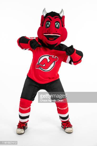 "The New Jersey Devils mascot ""NJ Devil"" poses for a portrait on August 13, 2019 at the United Center in Chicago, Illinois."