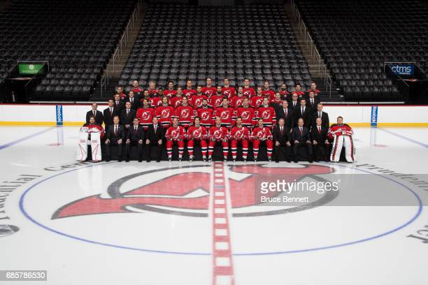 The New Jersey Devils pose for their official 201617 team photo at Prudential Center on April 5 2017 in Newark New Jersey