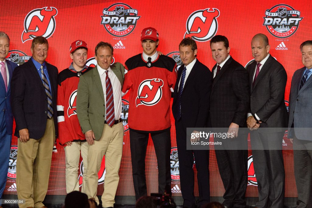 The New Jersey Devils select center Nico Hischier with the 1st pick in the first round of the 2017 NHL Draft on June 23, 2017, at the United Center in Chicago, IL.