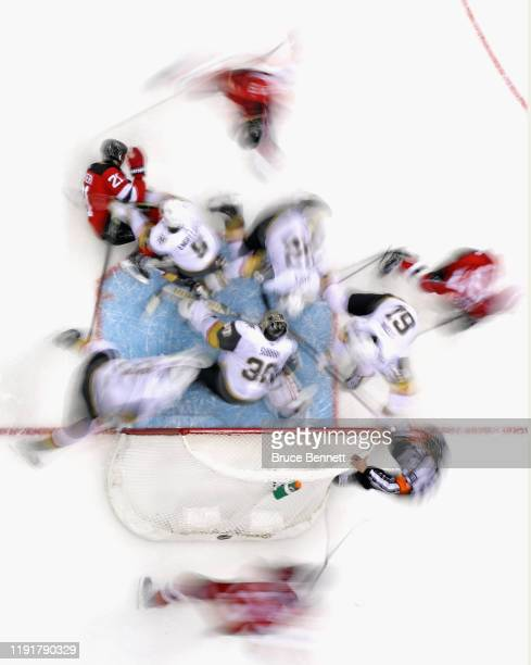The New Jersey Devils skates against the Vegas Golden Knights at the Prudential Center on December 03 2019 in Newark New Jersey The Golden Knights...
