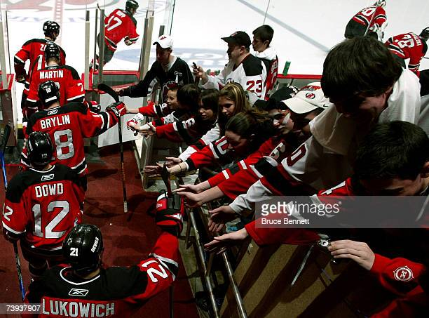 The New Jersey Devils take the ice for warm ups prior to the start of Game 5 of the 2007 Eastern Conference Quarterfinals against the Tampa Bay...