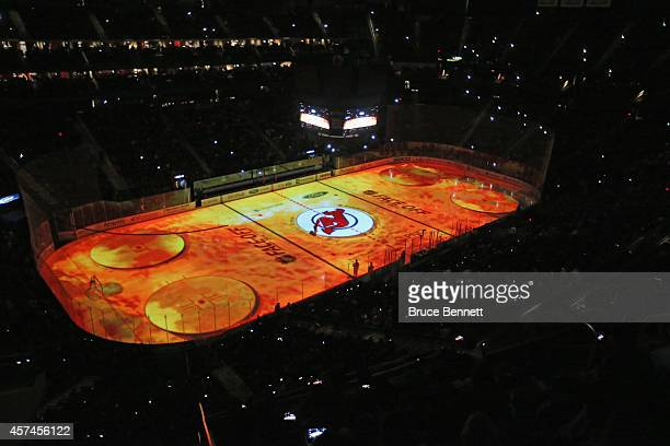 The New Jersey Devils unveiled a new 3D projection system to fans during pregame ceremonies prior to the home opening game against the San Jose...